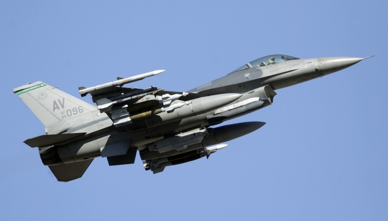A U.S. Air Force F-16 fighter jet like the one shown flying over Aviano Air Base, Italy, is presumed to have crashed in the Adriatic Sea while on a training exercise. Aviano controllers lost contact with the plane about 8 p.m. local time Monday.