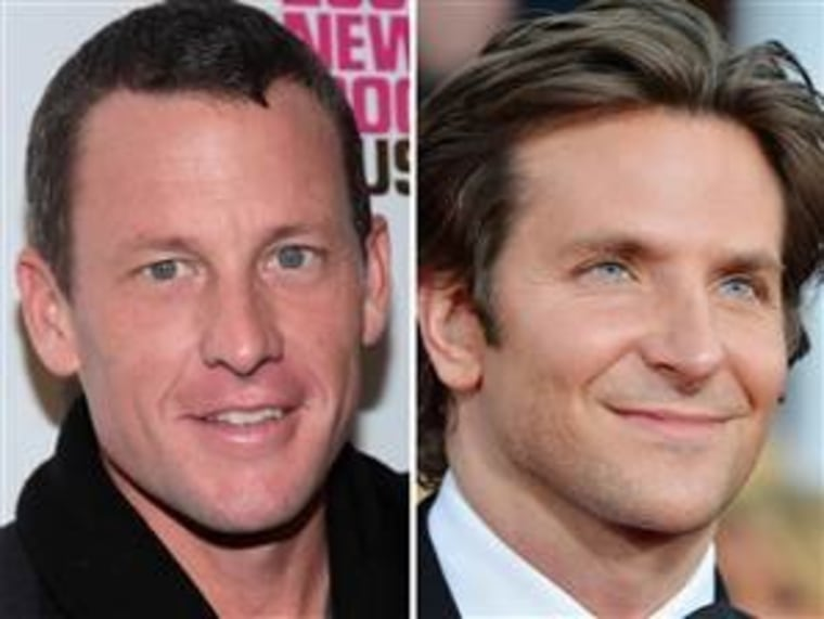 Bradley Cooper, right, says he won't play Lance Armstrong, left, in an upcoming movie.