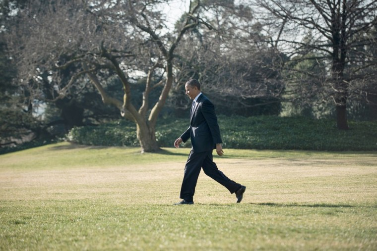 US President Barack Obama walks to Marine One on the South Lawn of the White House January 29, 2013 in Washington, DC. Obama is traveling to Las Vegas...