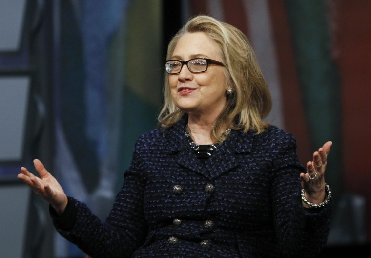 U.S. Secretary of State Hillary Clinton holds a town hall at the Newseum in Washington Jan. 29.