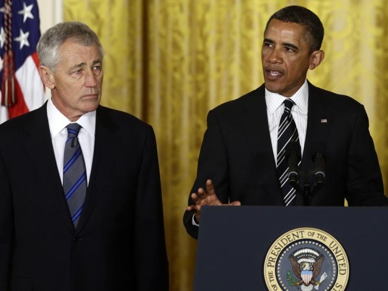 President Barack Obama announces in the East Room of the White House, Monday, Jan. 7, 2013, that he is nominating former Nebraska Sen. Chuck Hagel, as the new Defense Secretary.
