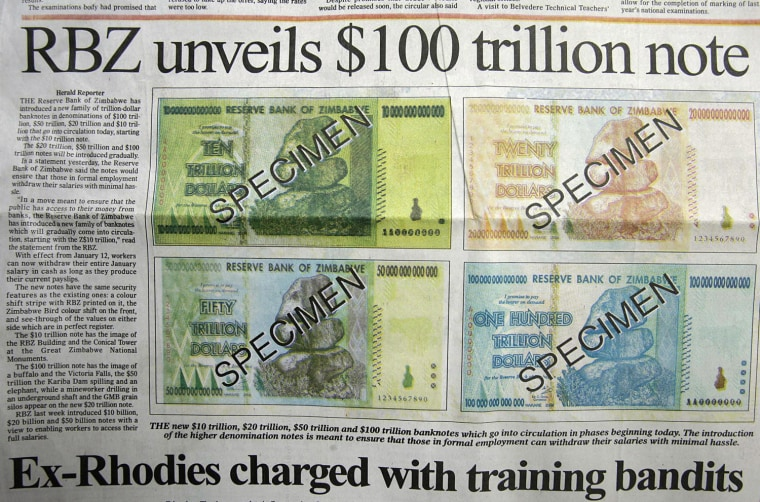 Crippling inflation in Zimbabwe led the government to issue a 100 trillion-dollar note in 2009, leading to reforms that have tamed the cost of living but left the country with almost no cash.