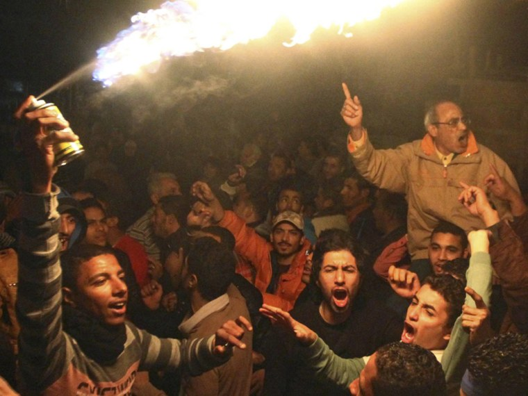 On the second anniversary of the uprising that toppled Hosni Mubarak, huge crowds take to the streets in five cities.