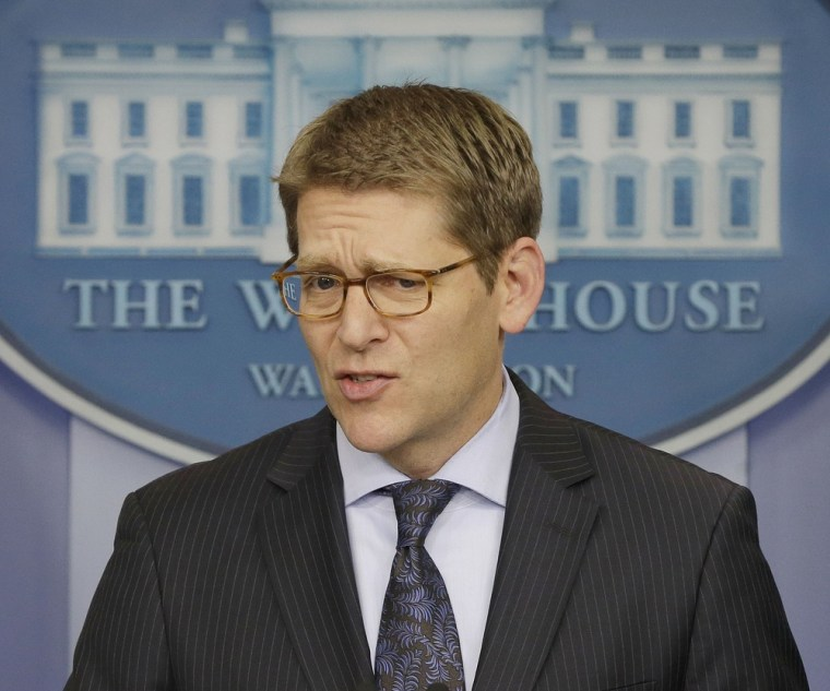 White House press secretary Jay Carney speaks during his daily news briefing at the White House in Washington, Wednesday, Jan., 30, 2013. (AP Photo/Pa...