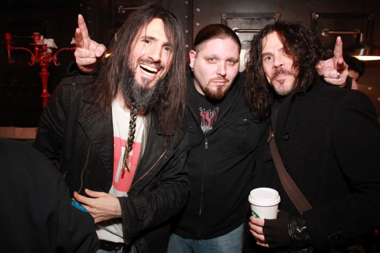 Bumblefoot, Brimstone & Tony Harnell together at the launch of their line of sauces and spices.