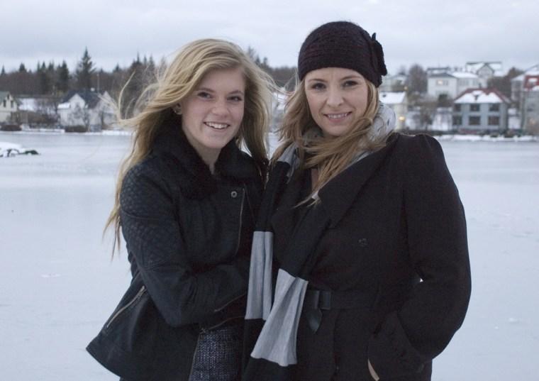 Icelandic teenager Blaer Bjarkardottir, 15, left, seen with her mother Bjork Eidsdottir, won the right to use her first name Thursday.