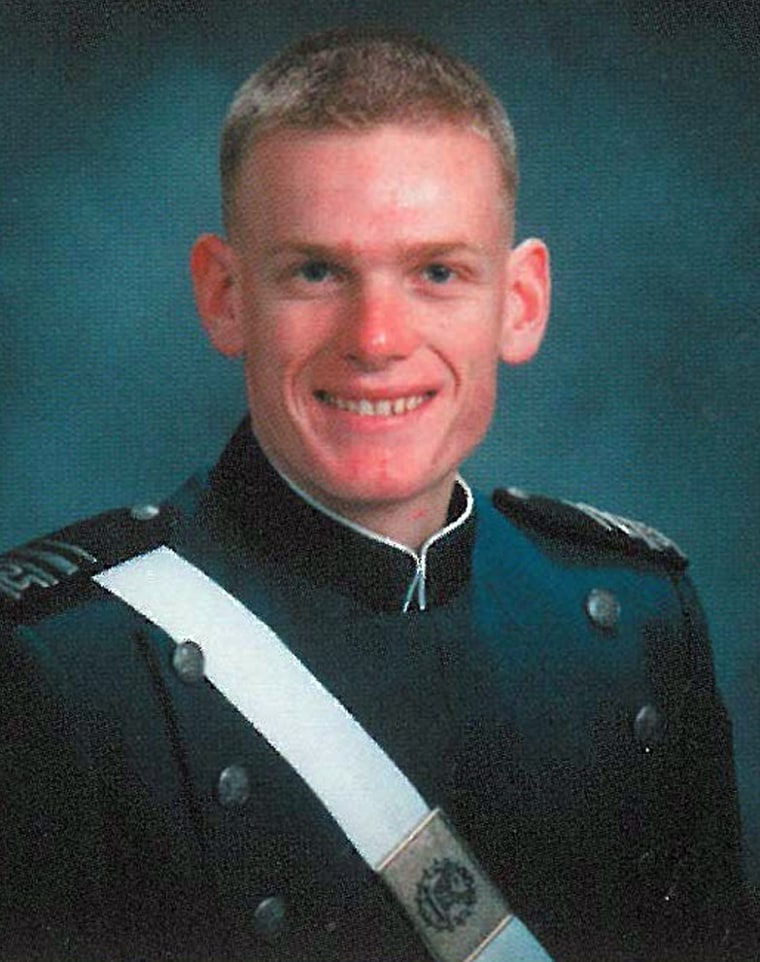 The U.S. Air Force has identified Capt. Lucas Gruenther, seen here in 2003, as the pilot of an F-16 fighter jet that went missing Monday on a training mission over the Adriatic Sea.