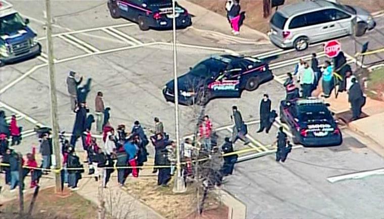 Scene outside a shooting at Price Middle School in Atlanta, Ga., on Thursday, Jan. 31, 2013.