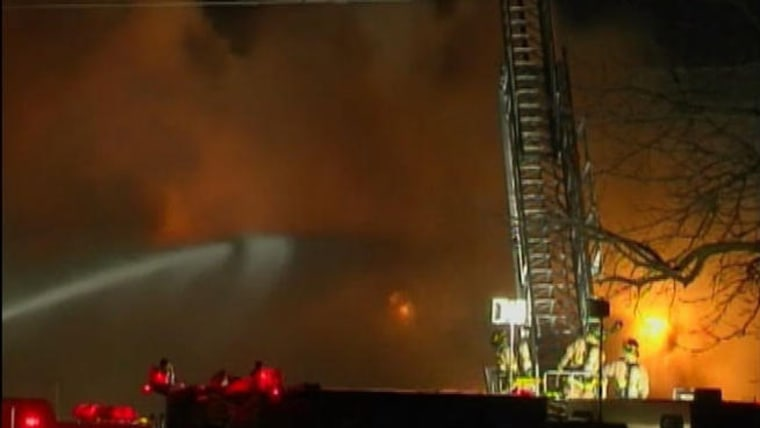 Crews fight a huge fire in Burlington, Wis., at a food processing plant on Thursday, January 31.