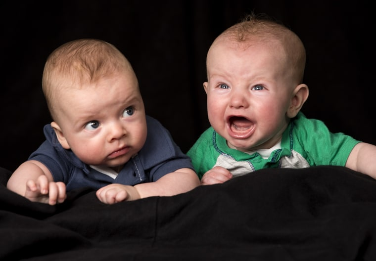 Baby Communication  Cousins Markham Reid Carter (blue) and Lucas Dowell Richardson (green) pose for a photo illustration on how B...