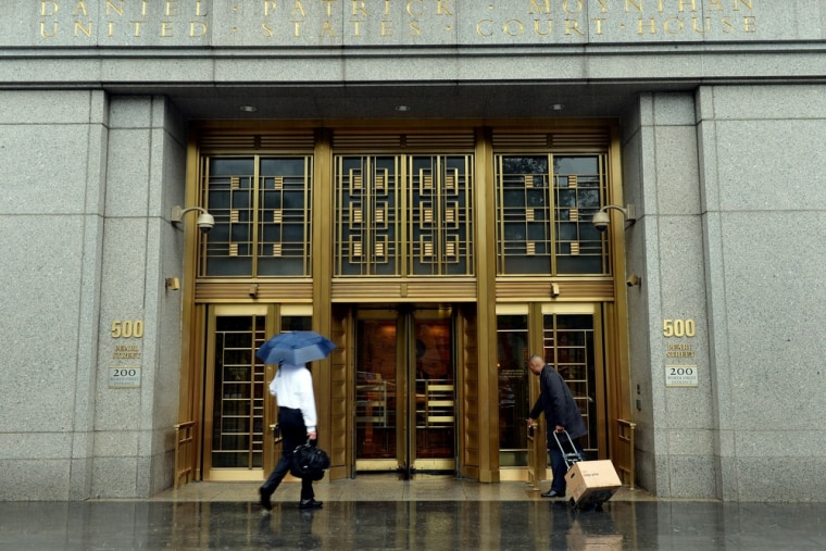 The front entrance to Federal Court as seen on June 3, 2013 in New York as the ebook price-fixing trial against Apple began.