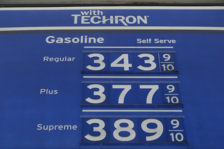 A sign with gas prices is shown at a gas station Monday, July 1, 2013, in Hialeah, Fla.