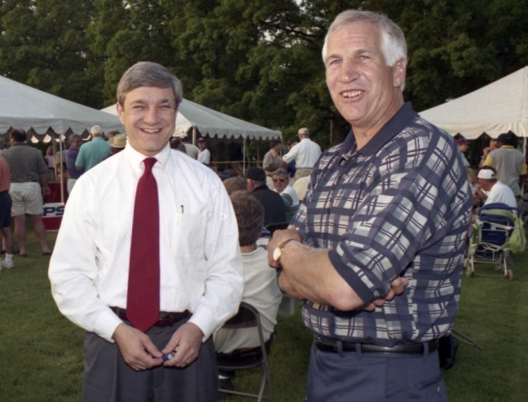 The Freeh report accused former Penn State University President Graham Spanier, left, of failing to disclose to investigators what he new about child sexual abuse by former assistant football coach Jerry Sandusky, right.