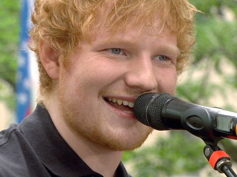 Ed Sheeran leads a sea of orange in a sing-along on the plaza
