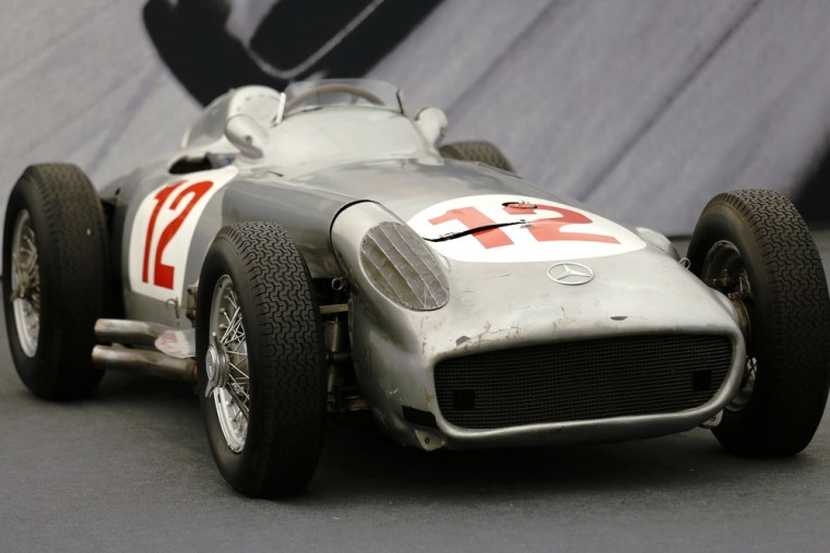 The Mercedes-Benz W196 einsitzer is pictured ahead of its auction by Bonhams at the Goodwood Festival of Speed at Goodwood near Chichester in southern...