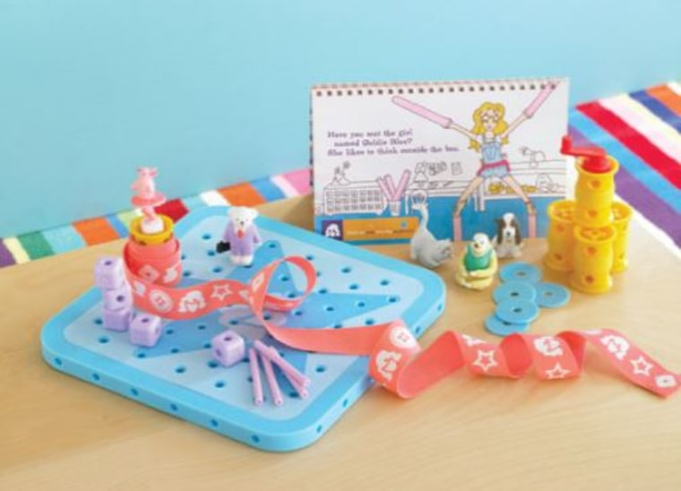 This GoldieBlox spinning contraption teaches the child about belts.