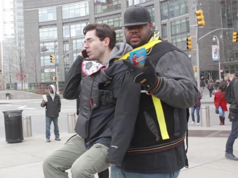 f2d6a4b1f11 Man toted around NYC in baby carrier by  30 Rock s  Grizz Chapman