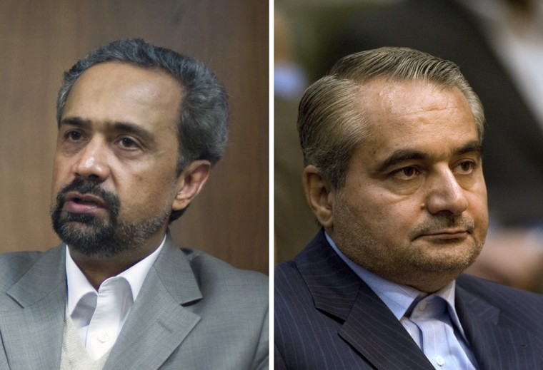 Mohammad Nahavandian, left, and Hossein Mousavian are among those tipped for posts in Iran's new cabinet.