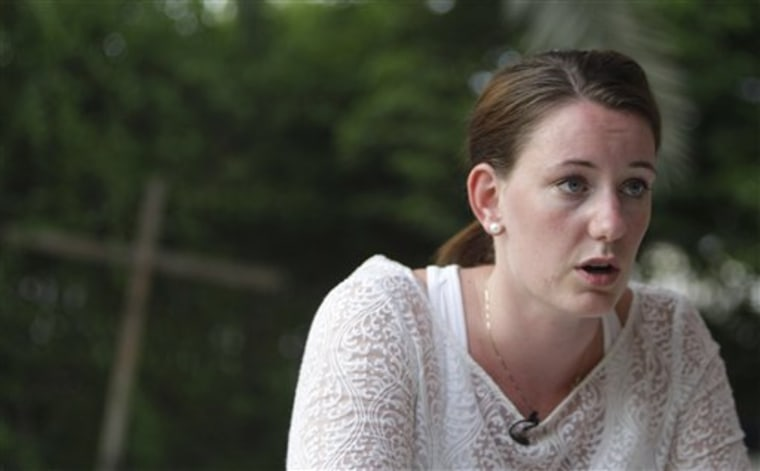 Marte Deborah Dalelv from Norway, 24, talks to the Associated Press reporter in Dubai on Friday, July 19, 2013, after she was sentenced 16 months in jail for having sex outside of marriage after she reported an alleged rape.