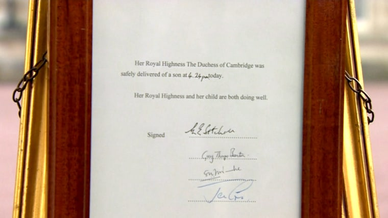 The official announcement, placed on an easel outside Buckingham Palace.