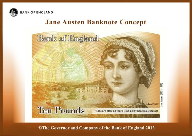 An illustration of a British ten pound Sterling banknote bearing the likeness of author Jane Austen, is seen in a picture released by the Bank of Engl...