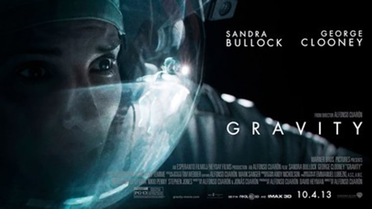 "\""Gravity\"" starring Sandra Bullock and George Clooney."
