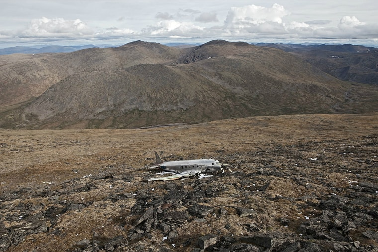 U.S. Air Force C-47 wreckage from a 1950 crash near Haines Junction, Yukon, Canada. According to the Aviation Safety Network, the plane was participating in a search for a missing plane when it was caught in a downdraft and flew into the side of the mountain. All ten people aboard survived.