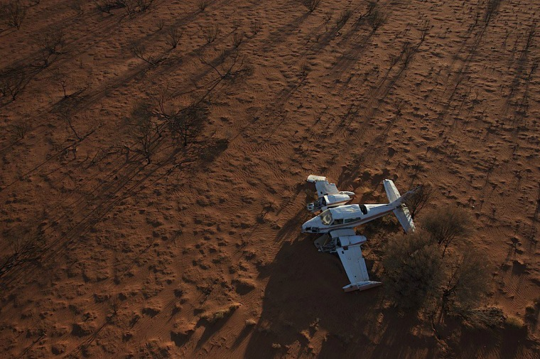 Cessna 310 that crashed in Australia in 1993. To achieve aerial views of the wrecks, such as this one, Eckell sometimes mounts his camera on a radio-controlled Oktopkopter and triggers the shutter remotely.
