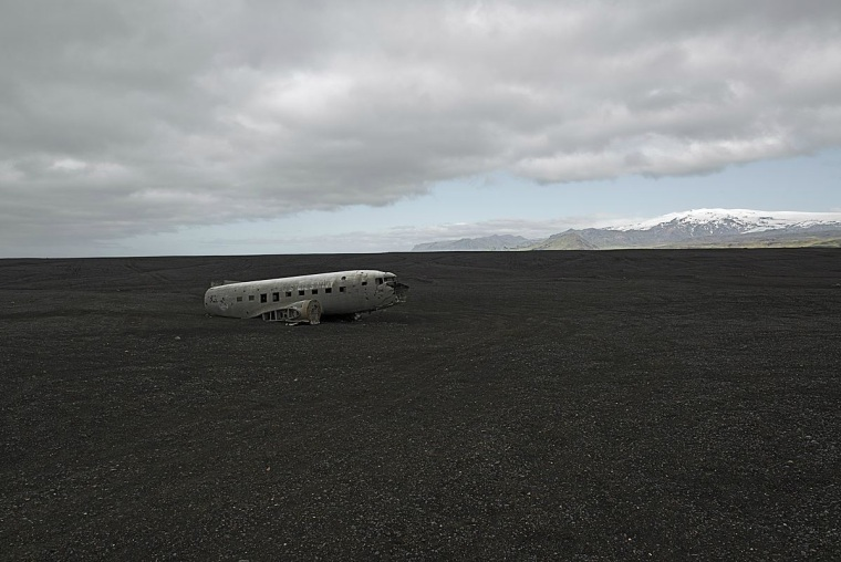 Douglas R4D8 near Vik, Iceland. This U.S. Navy plane was forced to land near the coast in 1973. All aboard survived.
