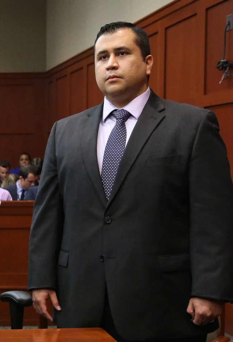 George Zimmerman listens as the verdict is announced July 13 in Sanford, Fla.