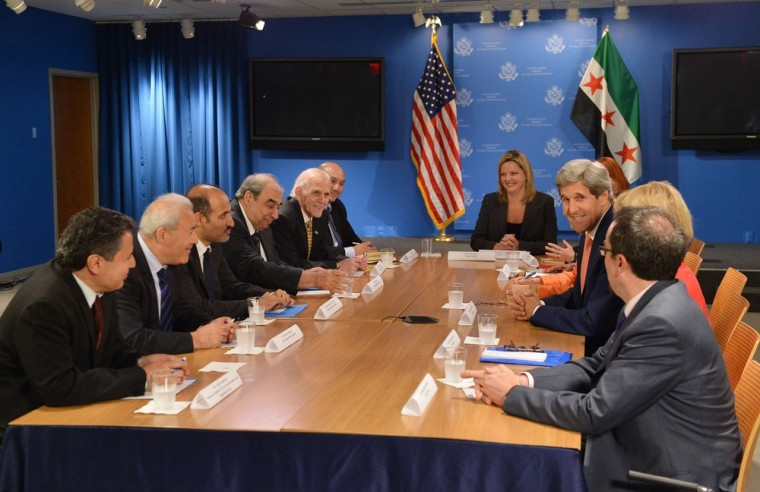 Secretary of State John Kerry meets with members of the Syrian Opposition Coalition including Ahmad al-Jarba (3rd left) in New York on Thursday.