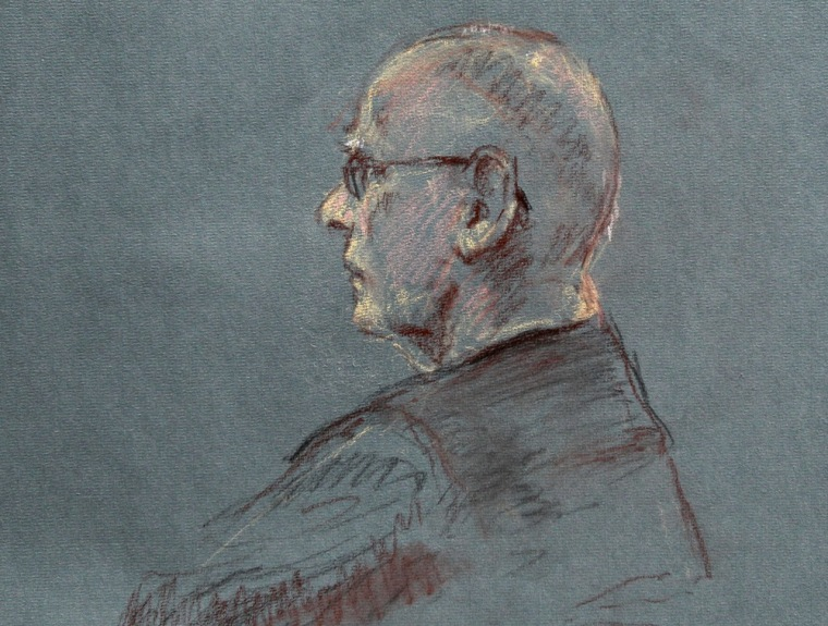 This courtroom sketch depicts James