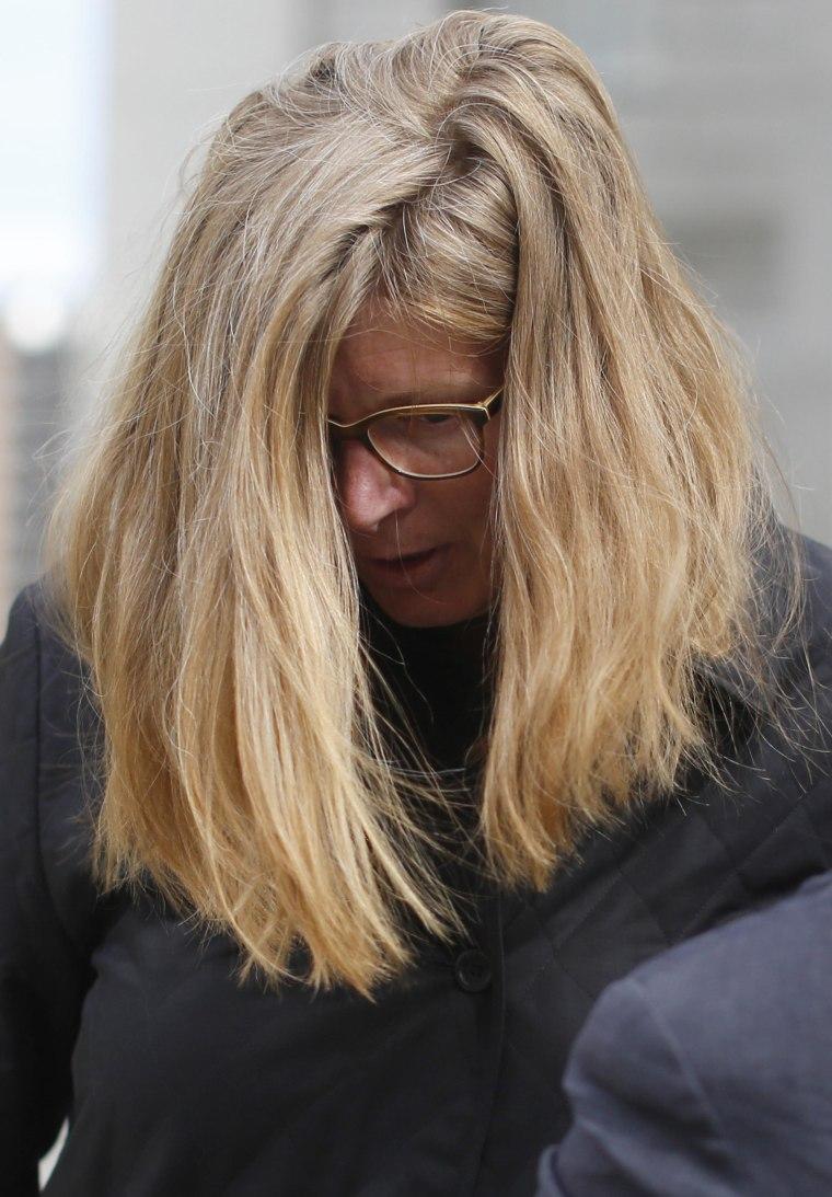 Ingrid Lederhaas-Okun departs Manhattan Federal Court in New York on July 2.