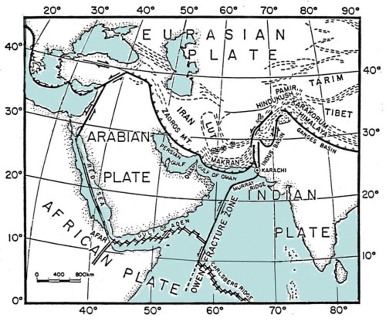 The Makran subduction zone is offshore of Pakistan.