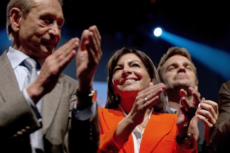 Socialist Anne Hidalgo (center) is Kosciusko-Morizet's main rival in the race to become Paris mayor.