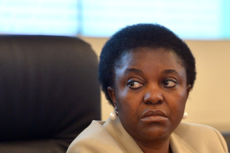 Italian Integration Minister Cecile Kyenge, seen here in a July 16 file photo.