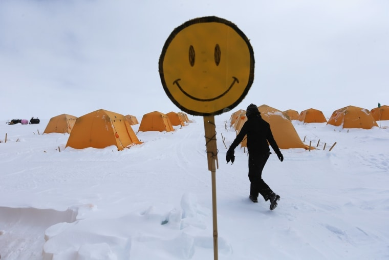 A happy face is seen near the tents where researchers live at Summit Station on July 11 on the Glacial Ice Sheet, Greenland.