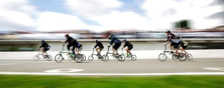 Competitors race in the Brompton World Championship folding bike race.