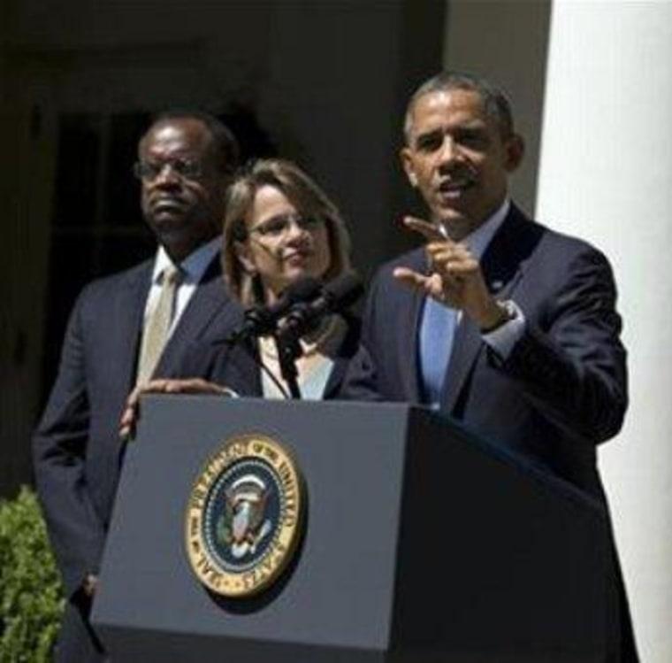 President Obama alongside judicial nominee Nina Pillard in June.