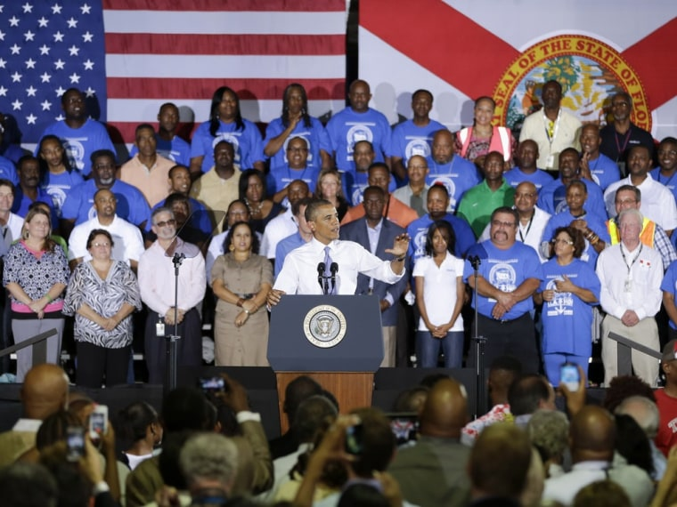 President Barack Obama gestures as he speaks about the economy, Thursday, July 25, 2013, at the Jacksonville Port Authority in Jacksonville, Fla.