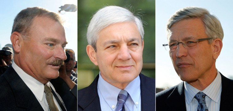 Former Penn State vice president Gary Schultz, left, former president Graham Spanier and former athletic director Tim Curley.