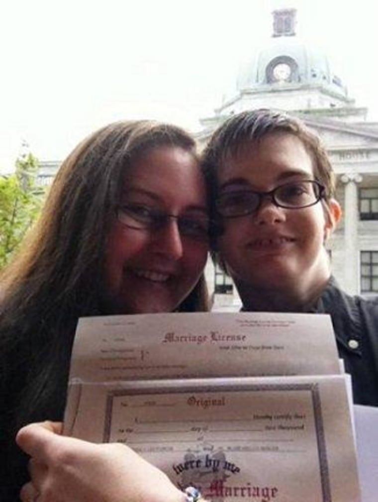 MaddowBlog reader Jess and her partner last week, after receiving their marriage license.