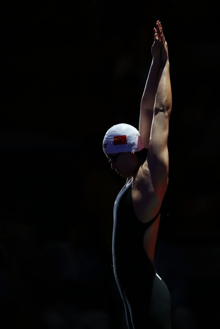 Yuanhui Fu of China prepares to compete in the Women's 100m backstroke final.