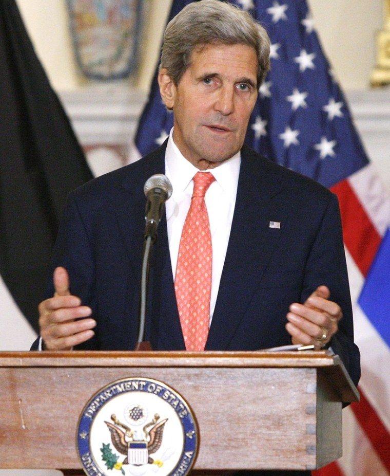 U.S. Secretary of State John Kerry announces further peace talks at a news conference with Israel's Justice Minister Tzipi Livni and Chief Palestinian negotiator Saeb Erekat at the State Department in Washington July 30, 2013.