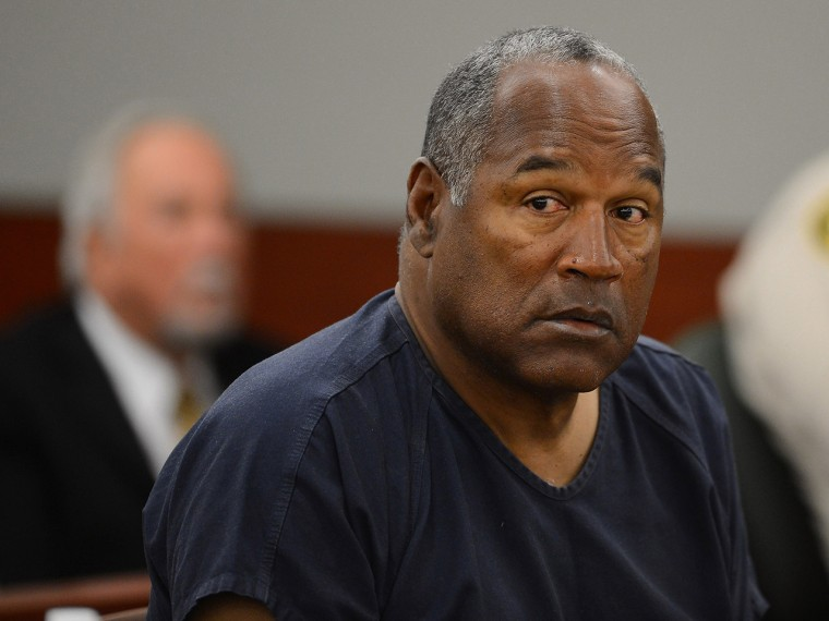 O. J. Simpson sits for the second day of an evidentiary hearing in Clark County District Court in Las Vegas on May 14.