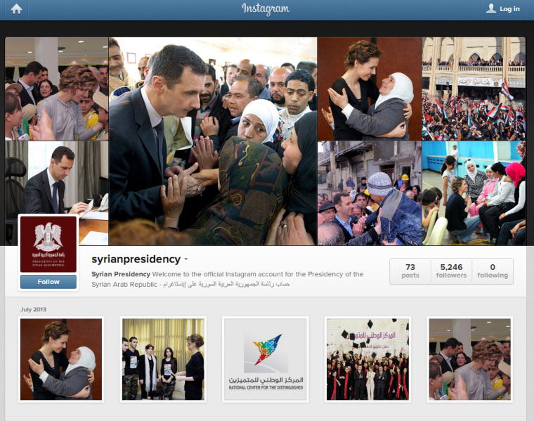 A screenshot of the official Instagram account of the Syrian president's office.