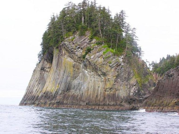 This spectacular columnar joint pattern in lava exposed in Alaska's Suemez Island formed when the lava flowed next to a glacier about 700,000 years ago.