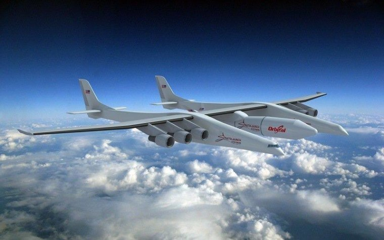 Stratolaunch says its air-launch system will incorporate a three-stage rocket built by Orbital Sciences Corp., as shown in this artist's conception.