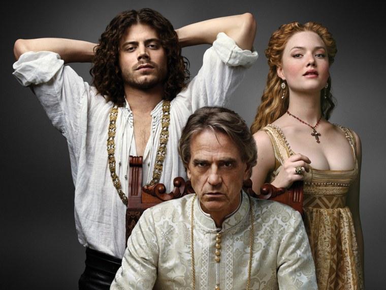 Francois Arnaud as Cesare Borgia, Jeremy Irons as Rodrigo Borgia, and Holliday Grainger as Lucrezia Borgia in The Borgias - Photo: Courtesy of SHOWTIM...