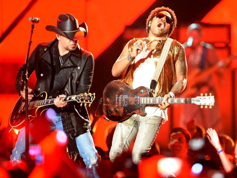 Image: Jason Aldean and Lenny Kravitz